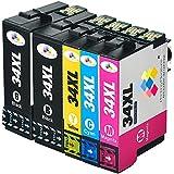 5 XL Compatibles Epson T3476 34XL Cartouches d'encre pour Epson WorkForce Pro WF-3720DWF WF-3725DWF - Noir/Cyan/Magenta/Jaune, Grande Capacité (BK: 1100 & C/M/Y: 950 pages)