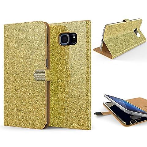URCOVER Coque Portefeuille Housse Pochette Glittery Diamant pour Samsung Galaxy S6   Wallet Case Étui a Rabat avec Strass Scintillantes et Pailletté en Or