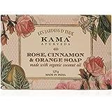 Kama Ayurveda Rose, Orange and Cinnamon Soap with Organic Coconut, Jojoba and Castor Oils, 125g