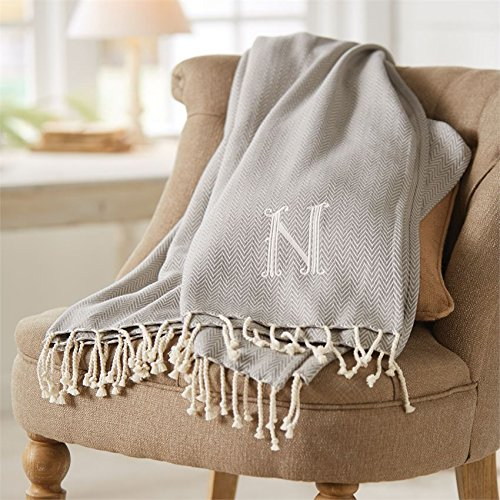 Mud Pie 4264313E Herringbone Initial E Throw Blanket with Fringe
