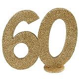 Jubiläumszahl 60 in Gold glitzernd zum Aufstellen, 10 cm