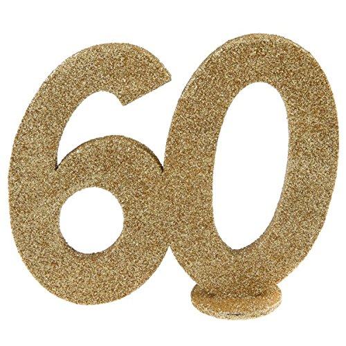 (Jubiläumszahl 60 in Gold glitzernd zum Aufstellen, 10 cm)