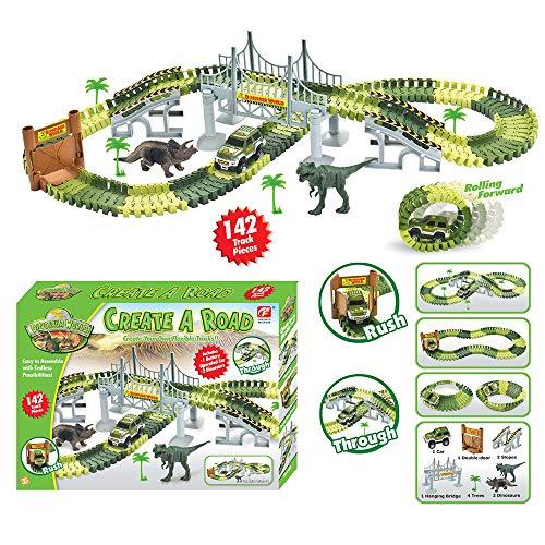 WISHTIME Dinosaurier-Rennstrecke Spielzeug Set Kinder Spielauto-Rennstrecken Dinosaurier Weltbrücke Erstellen Sie eine Straße 142 Stück Spielzeugauto & Flexible Track Playset - Spielzeug-rennstrecke