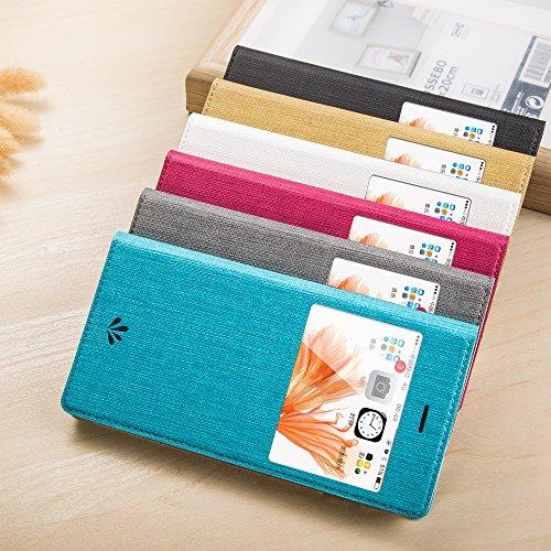 Iphone 6S Plus / 6 Plus Hülle Feitenn Case Cover Schutzhülle Mit Standfunktion Leder Hülle Visuelle Fenster Handyhülle Für Apple iPhone 6S Plus / 6 Plus - Weiß Weiß