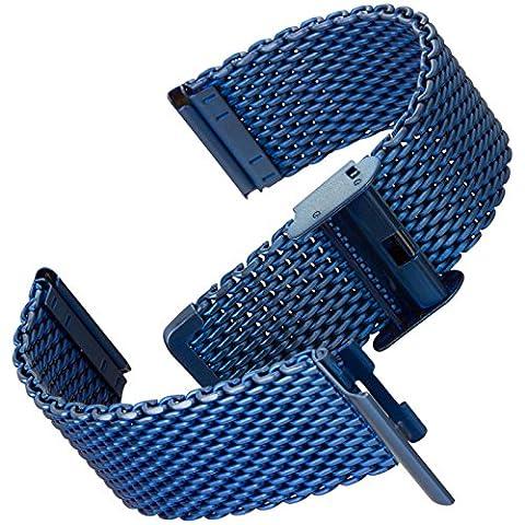 Geckota® Milanaise Maschen, Metall Uhrenarmband / Satin, Blau, 22mm (Chronograph Metal-band)