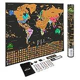 Earthabitats Weltkarte Zum Rubbeln – mit US-Staaten und Landesflaggen, Speichere Deine Abenteuer. Beinhaltet Rubbelchip und Memorysticker, Perfektes Geschenk für Reisende