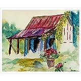 Betsy Drake Stall, Geranien Wand-Außenleuchte hängend, 61x 76,2cm