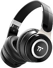 Bluetooth Kopfhörer TaoTronics Bluetooth Headset Over Ear 22 Std Wiedergabezeit mit dualen 40 mm Treibern, Leichte ohrumschließende Kopfhörer mit weichen Protein-Ohrpolstern, Zusammenklappbar, Mit & Ohne Kabel, Eingebautes Mikrofon
