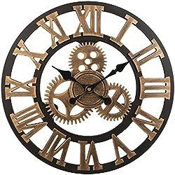 Soledi Reloj de Pared Engranaje Hueca Estilo Metálico Mecánico 40cm