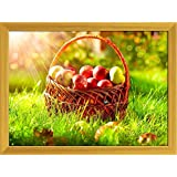 ArtzFolio Organic Apples In The Basket Orchard - MEDIUM Size 21.4inch X 16inch (54.4cms X 40.6cms) Including 1 Inch Wide Frame - PREMIUM MUSEUM-GRADE CANVAS Wall Paintings With GOLDEN COLOUR NATURAL WOOD FRAME: DIGITAL PRINT Wall Posters Art Panel Like Ha