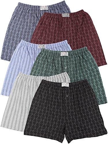 6er Pack Boxershorts Herren mit Eingriff 100% Baumwolle Farben können variieren