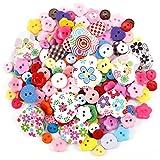 Anladia 200 Stück Kinder Holz Knopf Knöpfe Kinderknöpfe für Nähen Und Basteln Handwerk in viele verschiedenen Formen