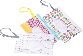 OKASU 3 Pcs Reusable Wet Wipe Pouch Baby Wipe Dispenser Travel Case/Bag Clamshell Cosmetic Pouch