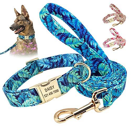 Beirui Ensemble de colliers et laisses personnalisables pour chien - Ensemble de 1,5 m et collier pour chien avec motifs floraux - Réglable pour petits, moyens et grands chiens