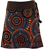 Guru-Shop Bestickter Minirock, Boho Chic Rock, Retro Mandala, Damen, Coffee, Baumwolle, Size:L/XL (42), Kurze Röcke Alternative Bekleidung