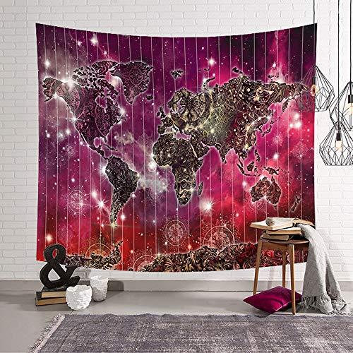 Morbuy Kreativ Tapisserie, Dekor Wandteppich Tapestry Weltkarte Motiv Wandbehang aus Polyster Wandtuch Tischdecke Meditation Strandtuch Yogamatte (Groß (150 x 200cm), Roter Boden)