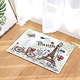 Kwboo Elemento Giovanile Art Déco Bicicletta sotto La Torre Eiffel. Tappetino Antiscivolo, Tappetino da Bagno, Tappetino da Cucina, Velluto più, 40X60Cm.