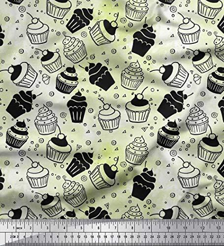 Soimoi Weiß Samt Stoff Kreis & Cupcakes Party gedruckt Craft Fabric 1 Meter 58 Zoll breit