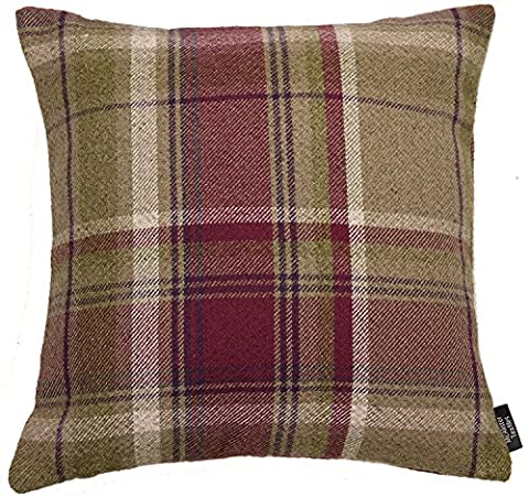 McAlister Textiles Heritage   Soft Wool Feel Woven Tartan Check Tweed Mulberry Purple & Beige Cushions w/ Polyester Inner   43cm 16x16