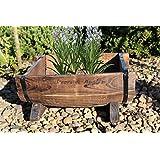 Wooden Half Barrel Planter For Lawn Patio Borders - Rustic Garden Ornament (1)