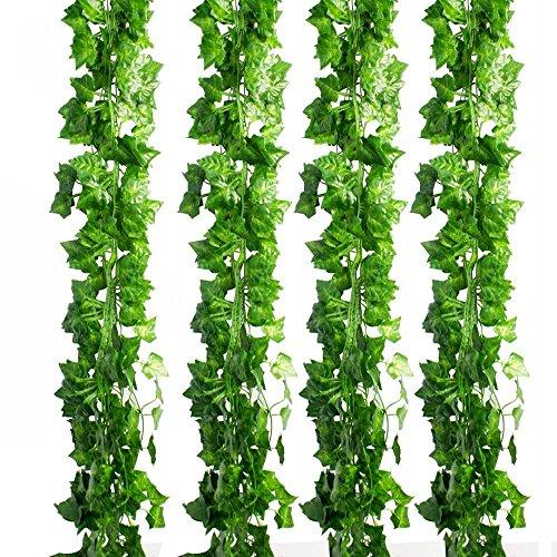 Frmarche Efeu Blätter Garland Künstliche Pflanzen Künstliche Efeu Garland Laub Grüne Blätter Gefälschte Hängende Reben Anlage für Hochzeit Garten Wand Dekoration 2M*12PCS