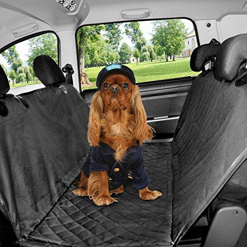 HoneyGuaridan Hundedecke Auto Autoschondecke für Rückbank Autoschondecke Hund Rücksitz mit Seitenschutz, Hundedecke Auto Rückbank utschfeste Schutzdecke Gurtöffnung – auch für den Kofferraum
