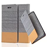 Cadorabo Hülle für Huawei P7 - Hülle in HELL GRAU BRAUN – Handyhülle mit Standfunktion und Kartenfach im Stoff Design - Case Cover Schutzhülle Etui Tasche Book