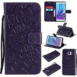 BoxTii Coque Galaxy Note 5, Etui en Cuir de Première Qualité [avec Gratuit Protection D'écran en Verre Trempé], Housse Coque pour Samsung Galaxy Note 5 (#7 Violet)