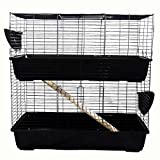Large Indoor Rabbit or Guinea Pig Hutch Two Storey (100cm, Black)