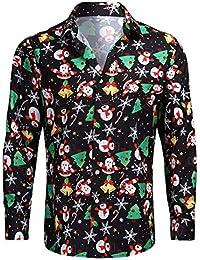 BDBD Chemise Hommes Noël Chemise Casual Chemise Coloré Bonhomme De Neige Adorable Fleur imprimé Casual Coupe Droite Manches Longues Décontracté Shirt Casual Tops(Vert)