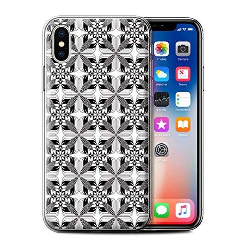 Stuff4 Gel TPU Hülle / Case für Apple iPhone X/10 / Blumen Skizze Muster / Schwarz Mode Kollektion Symmetriefliesen