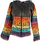 Guru-Shop Patchwork Jacke mit Zipfelkapuze 1, Damen, Schwarz, Baumwolle, Size:M/L (40), Boho Jacken, Westen Alternative Bekleidung