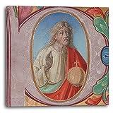 frühes 16. Jahrhundert - Manuskript-Illumination mit Salvator Mundi mit P-Initiale, aus einem Chor-Buch (Made in Venice or Padua, Italy), 40 x 40 cm (weitere Größen verfügbar), Leinwand auf Keilrahmen gespannt und fertig zum Aufhängen, hochwertiger Kunstdruck aus deutscher Produktion