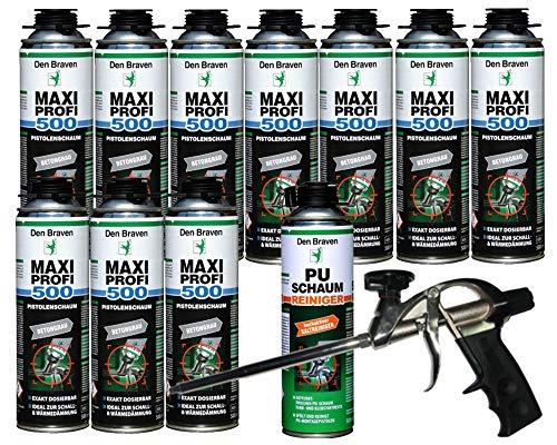 Profi SET Den Braven 10 x Maxi Profi 500 + PU Reiniger 500ml + Schaumpistole Compact -