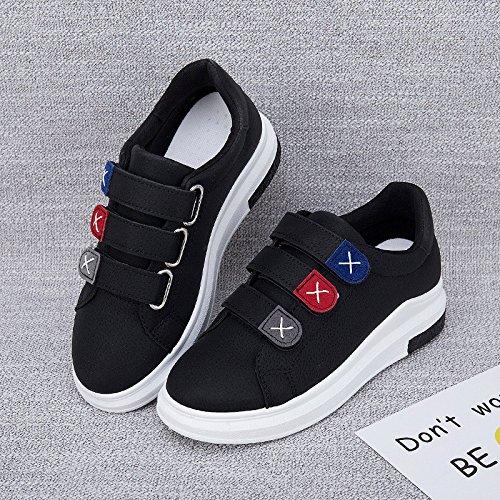 Wuyulunbi@ Primavera e Autunno White scarpe Scarpe Donna Scarpe Velcro Nero
