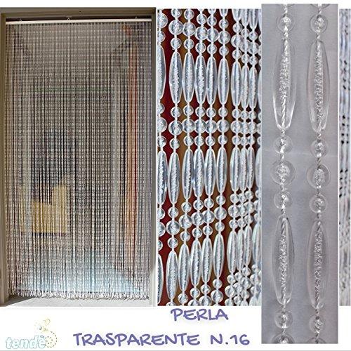 Tenda/moschiera pvc - modello perla - misure standard (100x220 / 120x230 / 130x240 / 150x250) - made in italy (150x250, bianco trasparente (16))