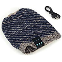 Megadream® Bluetooth Cappello Berretto Invernale cuffia musica estraibile Wrinkle Crochet Baggy Cap altoparlante wireless Bluetooth (Womens Hard Cap)