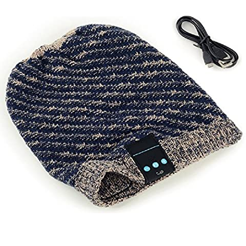 Megadream Bluetooth Hat Winter Warm Detachable Music Headset Hat Beanie Wrinkle Knitted Crochet Baggy Cap Wireless Speaker Bluetooth Receiver MP3 Audio Knit Hat with Handsfree Headset Earphone for Bluetooth Enable Devices