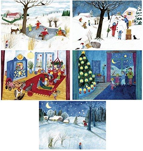 Winterbilder - Postkarten-Set mit Illustrationen von E.M. Ott-Heidmann - schnurverlag