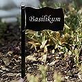 Acrylglas Pflanzschilder Fahne schwarz - Auswahl + Wunschname - Gartenstecker, Kräuterschilder, Pflanzenstecker von Bütic GmbH - Du und dein Garten