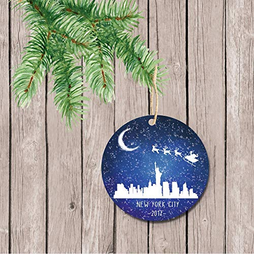 prz0vprz0v New York City Christmas Ornament, NYC Christmas Ornament, Santa, Reindeer, Personalized Christmas Ornament, Christmas Ornaments, New York Keepsake
