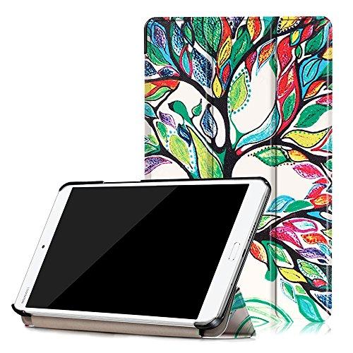 Tonycase Huawei MediaPad M3 8.4 Hülle - Ultra Slim Lightweight Schutzhülle Smart Cover Standfunktion für Huawei MediaPad M3 8.4 Tablet-PC (mit Auto Schlaf / Wach Funktion) (Fröhlicher Baum)