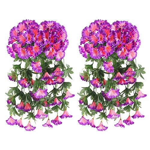 HUAESIN 4Pcs Plantas Artificiales Colgantes Flores Moradas Enredaderas Artificiales Exterior e Interior...