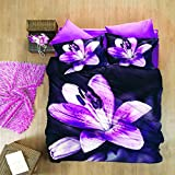 3D Pink Lilly 100% Cotton Sateen Duvet Cover Bedding Set Double Floral by Luoca Patisca