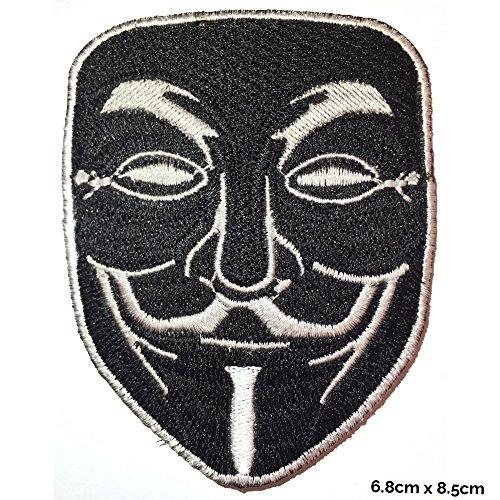 V für Vendetta Anonymous–Schwarz Anwendung besticktes Patch Abzeichen Fancy Kleid Kostüm T Shirt Tasche Jacke ()