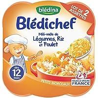 Blédina Blédichef Assiette Méli-Mélo de légumes, riz et poulet dès 12 mois 2x230g - lot de 4