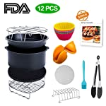 XL Air Fryer Accessories, Lesgos 8 Inch Set Of 12 PCS Deluxe Deep Fryer Accessories With Recipe Cookbook For Gowise...