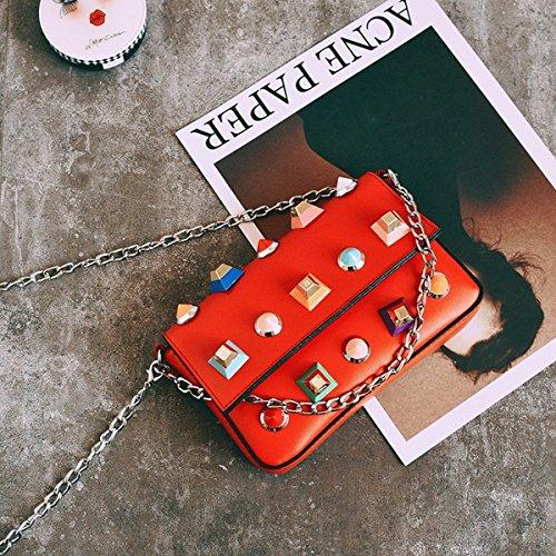 Weibliche nieten Kette kleine quadratische paket mode Schulter diagonale paket tasche Rot
