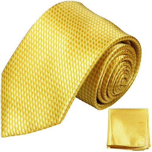 Preisvergleich Produktbild Krawatten Set 2tlg 100% Seide gold gelb uni Seidenkrawatten mit Einstecktuch
