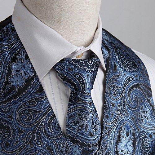 EGD2B.01 Geschenk geben Paisley Microfiber Kleid Tuxedo Weste Neck Tie Set von Epoint EGD2B03A-Grau Blau